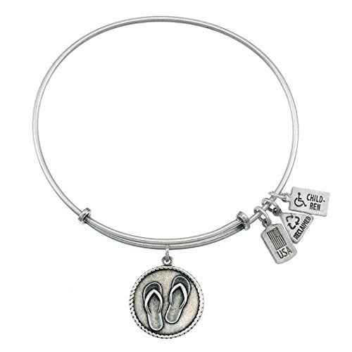 Wind and Fire Flip Flops Charm Bangle Bracelet (Antique Silvertone Finish)