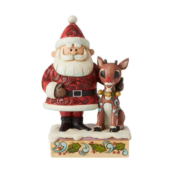 Enesco Rudolph Traditions by Jim Shore Santa Hugging Rudolph, LIted Figurine