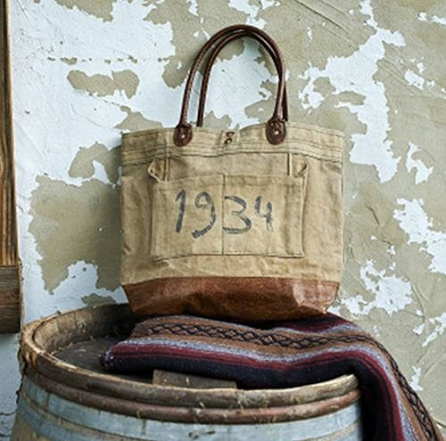 "Mona B Vintage Eco Inspired ""1934"" Recycled Canvas Shoulder Bag M-1872"