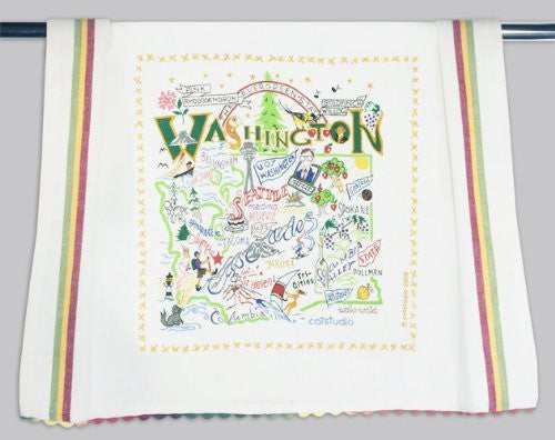 Catstudio Hand-Embroidered Dish Towel - Washington State