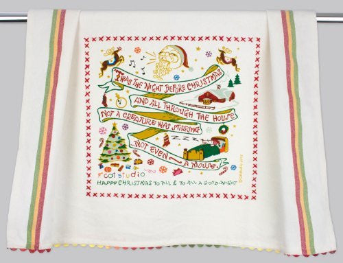 Catstudio Night Before Christmas Dish Towel - Original Geography Collection Décor 140NB4-CS