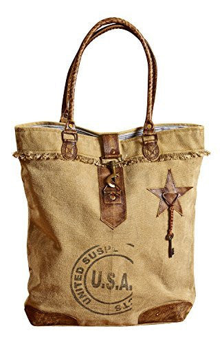 Mona B USA Stamped Canvas Bag M-2054