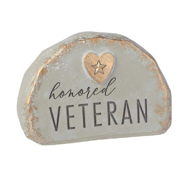 Grasslands Road Honored Veteran Bereavement Rock - Memory Rocks - Memorial Rocks - Memorial Rock, Resin, 4 1/2 by 6 by x 4 Inches