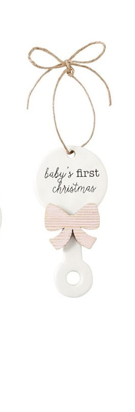 Mud Pie  Mud Pie Baby's First Christmas Rattle Pink Bow Ceramic Ornament