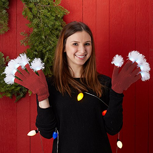 Hot Red Flashing Pom Pom Fingertip Knit Gloves