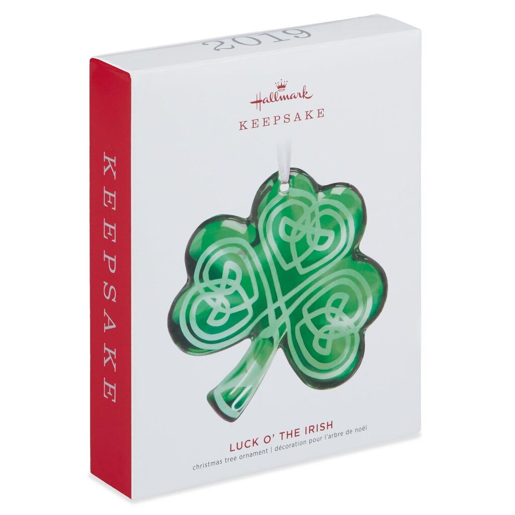 Hallmark Keepsake 2019 Luck O' the Irish Shamrock Glass Ornament