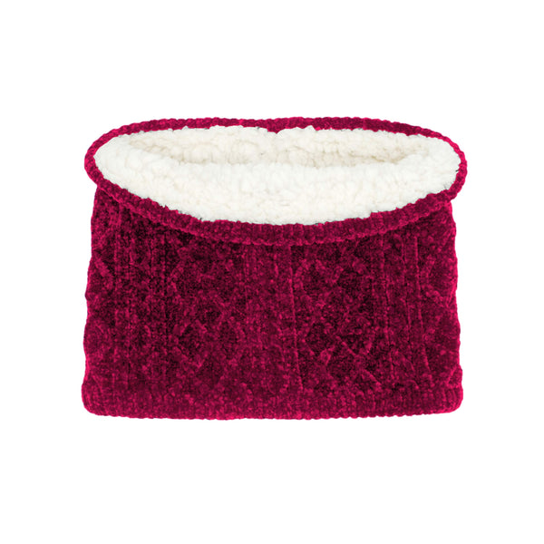 Pudus Snood Cable Knit Raspberry Chenille