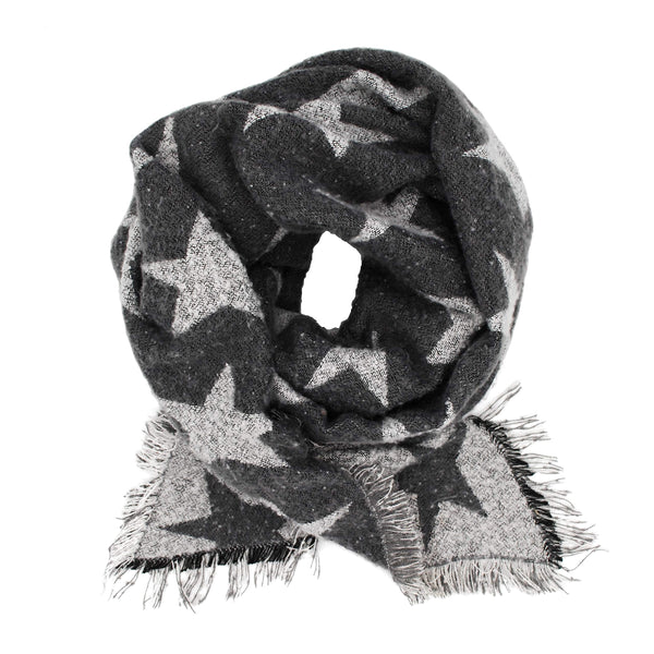 Pudus Women's Warm Blanket Scarf with Reversible Star Pattern, Oversized Shawls and Wraps for Winter and Fall