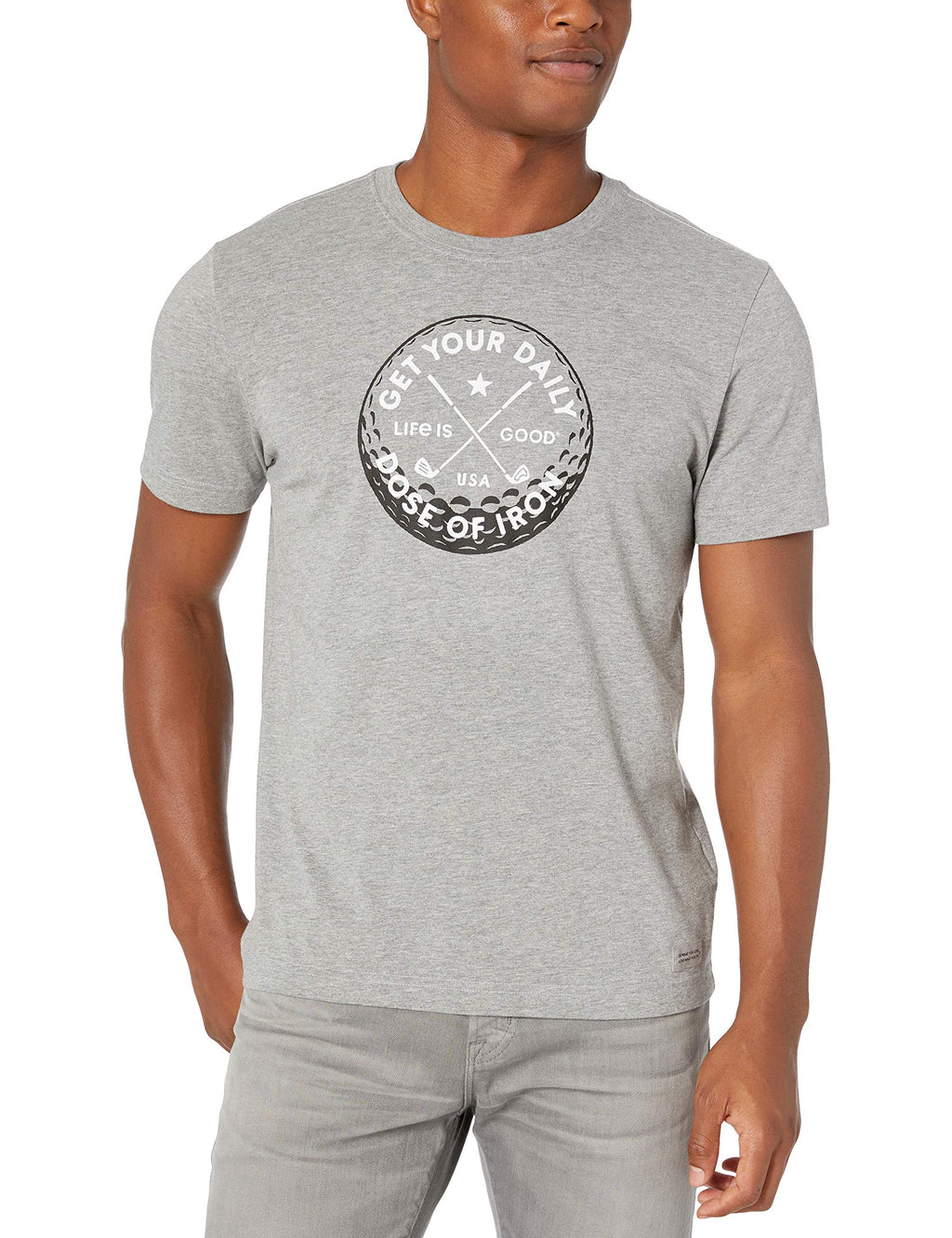 Life is good Men's Mens Crusher T-shirt, Heather Gray, Large
