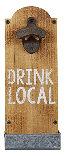 Mud Pie Drink Local Wall Mounted Bottle Opener, Brown