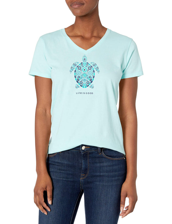 Life is Good Womens Animal Graphic V-Neck T-Shirt, Turtle Bermuda Blue, Medium