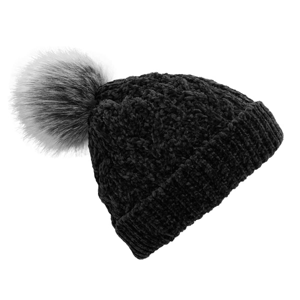 Pudus Women's Winter Beanie Hat with Faux Fur Pom Pom - Cable Knitted Chenille and Fleece Lined Slouchy Beanie Black Chenille