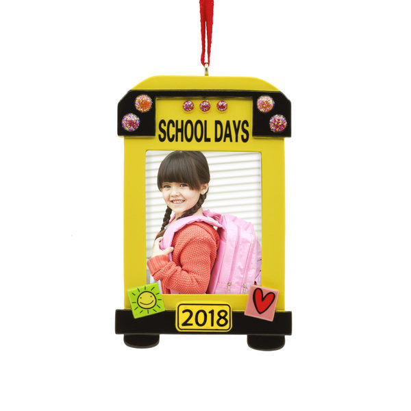 Hallmark School Bus Photo Holder Dated Ornament