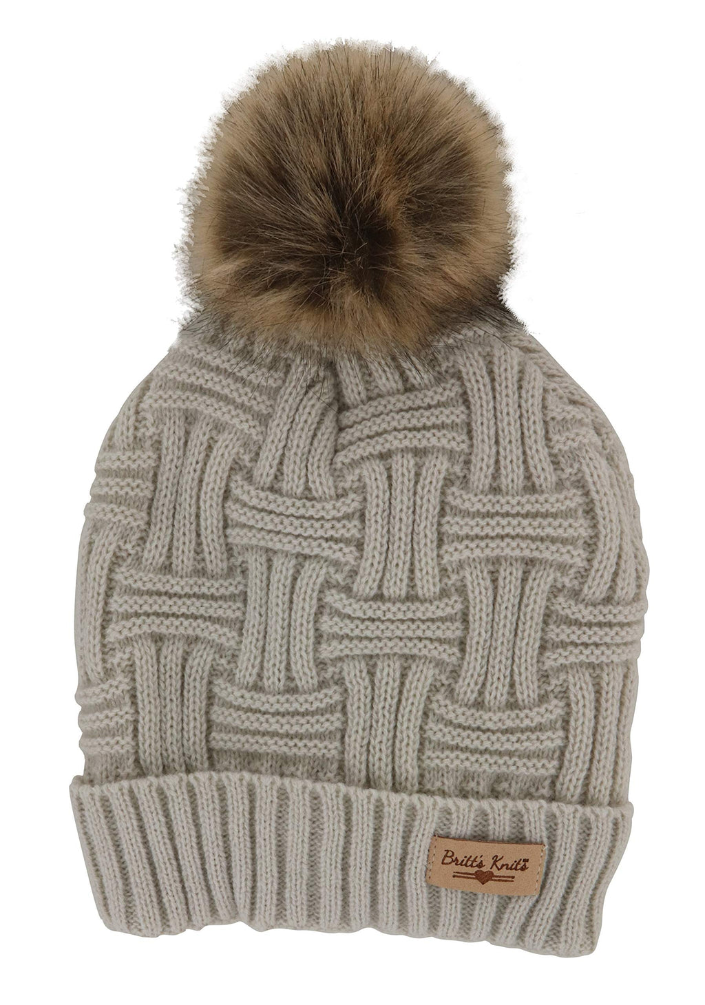 Britt's Knits Women's Plush-Lined Knit Hat with Pom Oatmeal
