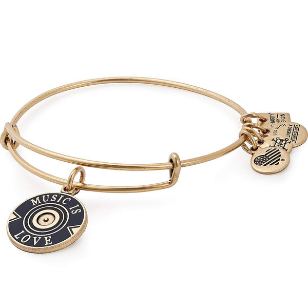 Alex and Ani Women's Music is Love Bangle Bracelet, Rafaelian Gold, Expandable