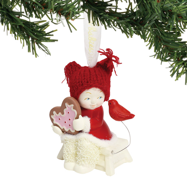 "Department 56 Snowbabies ""Sharing a Sweet Tweet"" Porcelain Hanging Ornament, 3"""