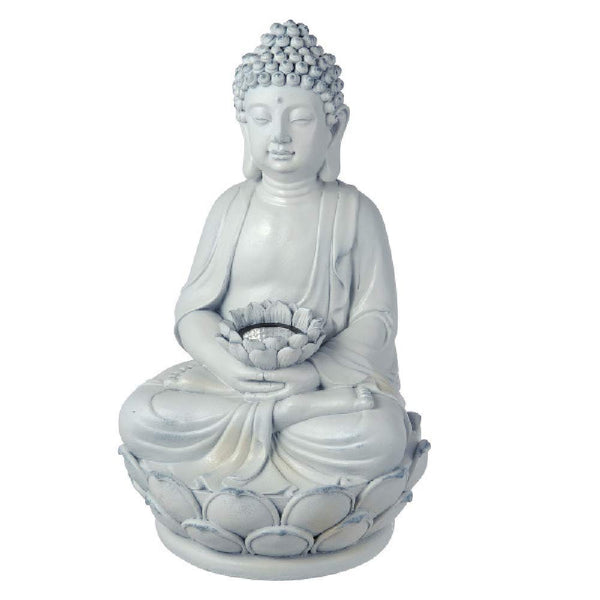 Grasslands Road Buddha Solar Figurines - Home Décor Figurines - Garden Décor Figurines, Resin and Light, 17 by 9 by 9 Inches, On and Off Switch