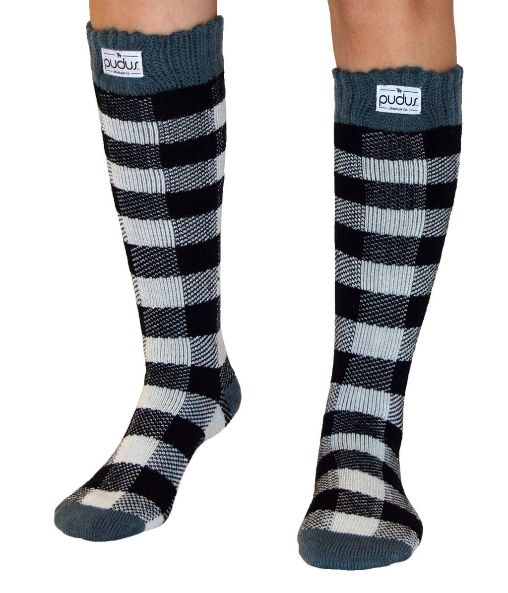 Pudus Womens Warm Tall Boot Socks W 6-10 Fleece-Lined Crew-Length Winter Socks Lumberjack White Tall