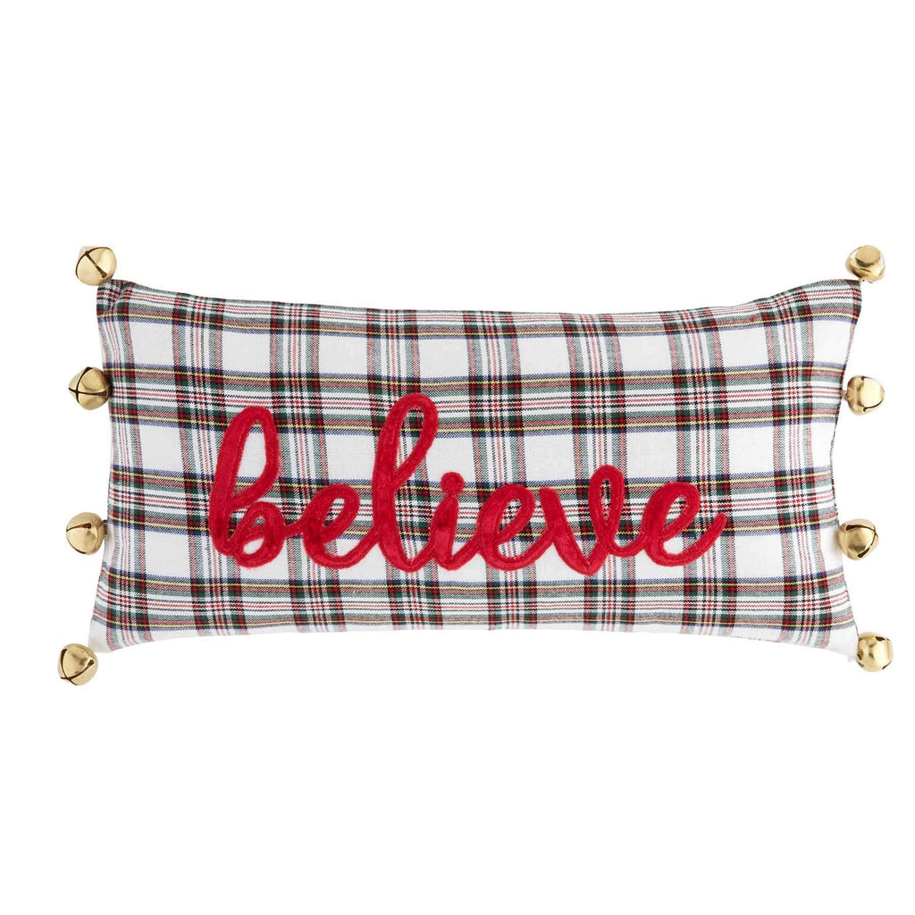 Mud Pie Believe Tartan Bell Pillow, Multicolor
