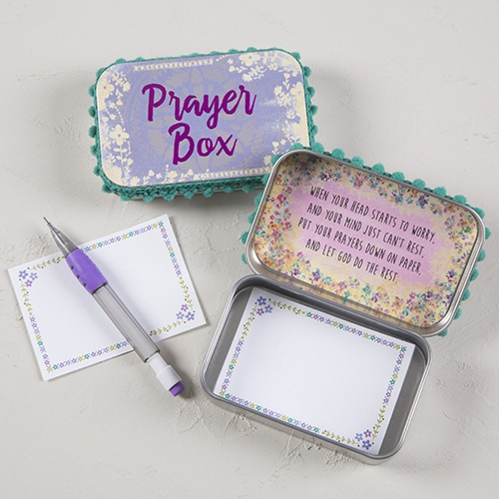 Natural Life Purple Foil Floral Motif Inspirational Memory Prayer Box with Pencil and Notecards