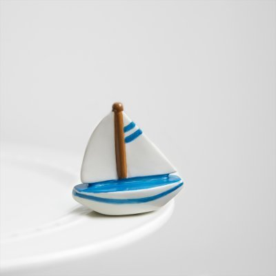 Nora Fleming Sailboat Mini - Sail Me Away - Hand-Painted Ceramic Charm - A136