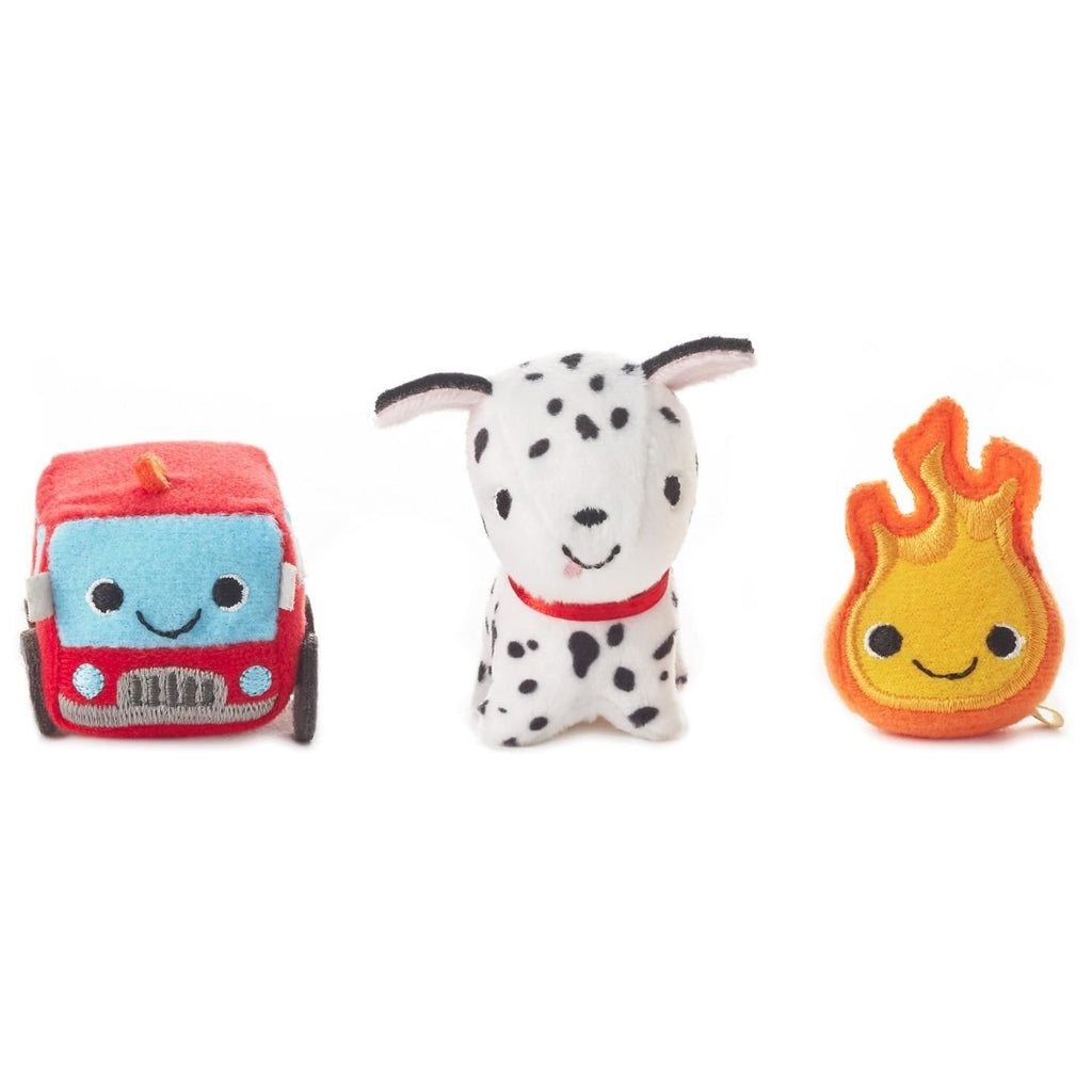 Hallmark Happy Go Luckys Toddler Toys, Small Stuffed Animals, Fire Truck Dog, Set of 3