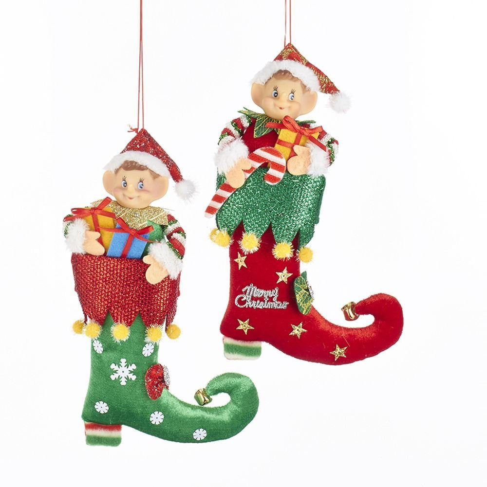 Kurt Adler Elf in Jester Boot Ornaments - 2 Assorted: Green with Red Cuff and Red with Green Cuff