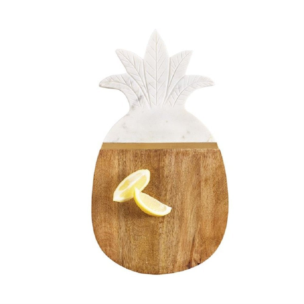 Mud Pie 4755043 Marble and Wood Pineapple Serving Board, One Size, White Brown