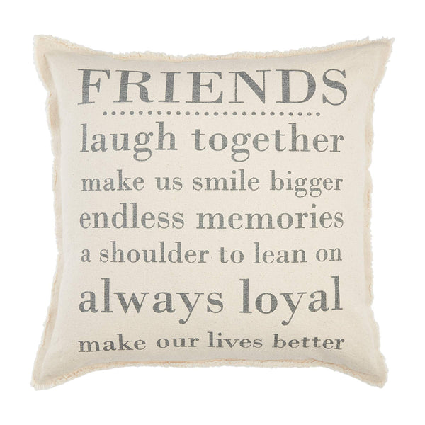 Mud Pie Friends Washed Canvas Pillow
