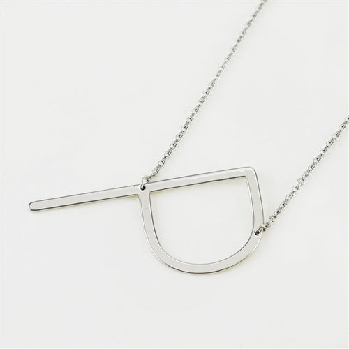 Cool And Interesting Silver Large Sideways Initial Necklace - P