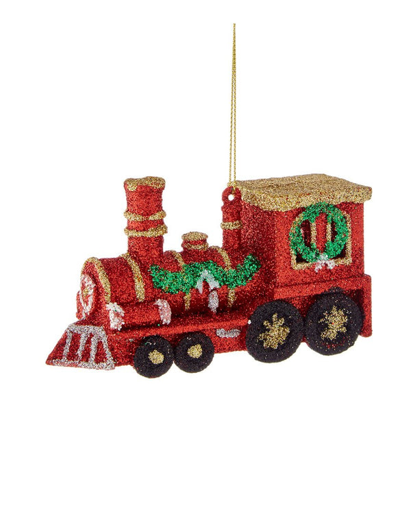 "Kurt Adler 2.75"" Plastic Red Train Ornament W/glitter"