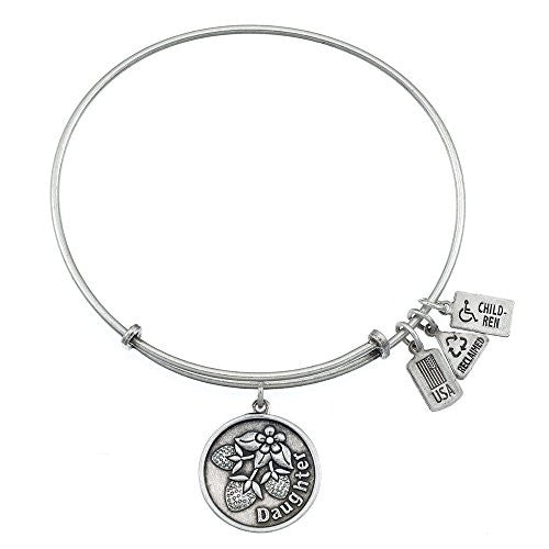 Wind and Fire Daughter Charm Bangle Bracelet (Antique Silvertone Finish)