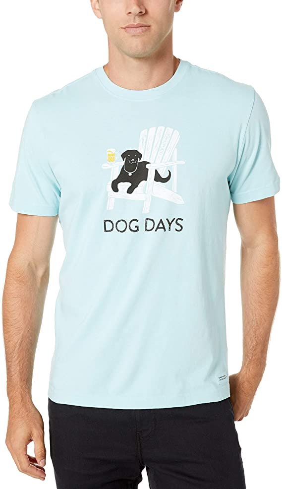 Life is Good Mens Crusher Pet Graphic T-Shirt, dog Beach Blue, X-Large