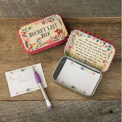 Natural Life Inspirational Bucket List Box with Pencil & Notepad