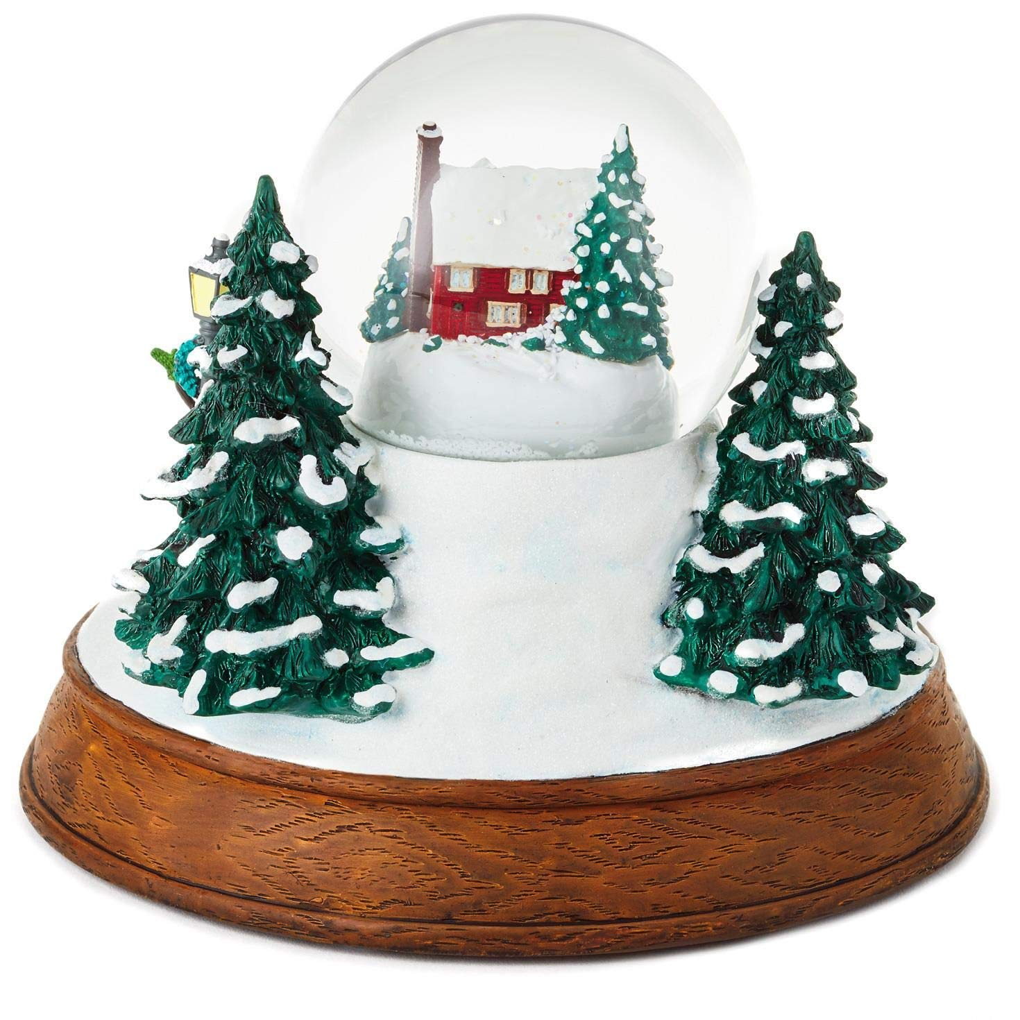 Christmas In Evergreen Snow Globe.Large Sleigh Ride Musical Snow Globe With Light