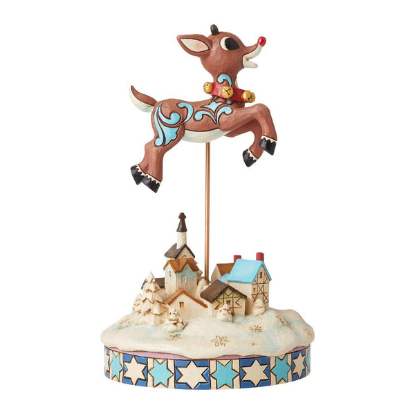 Enesco Rudolph Traditions by Jim Shore Leaping Rudolph with Bells Figurine