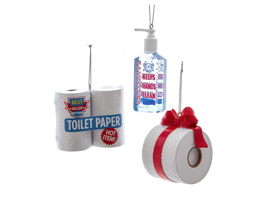 Kurt S. Adler Set of 3 Essential Ornaments Hand Sanitizer,  4-pack Toilet Paper and a Red Ribbon Toilet Paper Roll