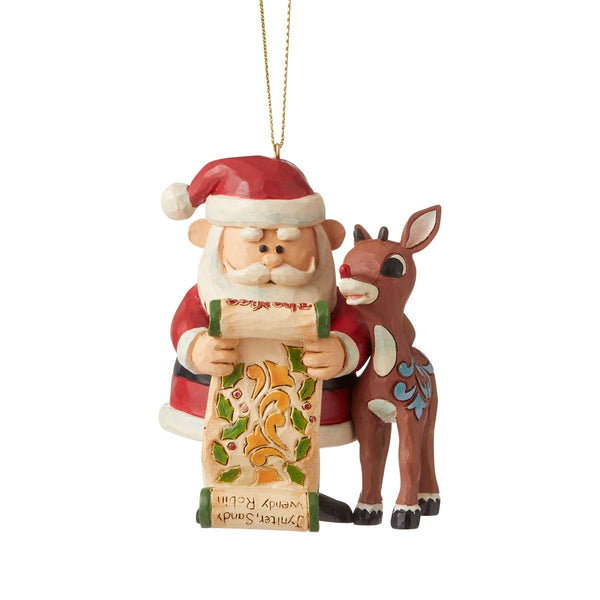 Enesco Rudolph Traditions by Jim Shore Rudolph & Santa with List HO Figurine