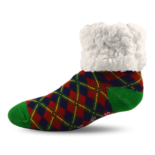 Pudus Cozy Holiday Winter Slipper Socks Women & Men w Non-Slip Grippers Faux Fur Sherpa Classics Christmas Plaid Classics