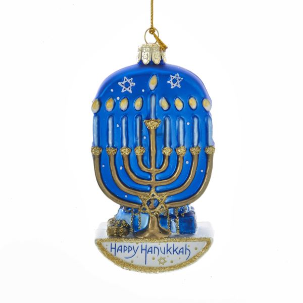Kurt Adler Noble Gems Glass Hanukkah Menorah Ornament