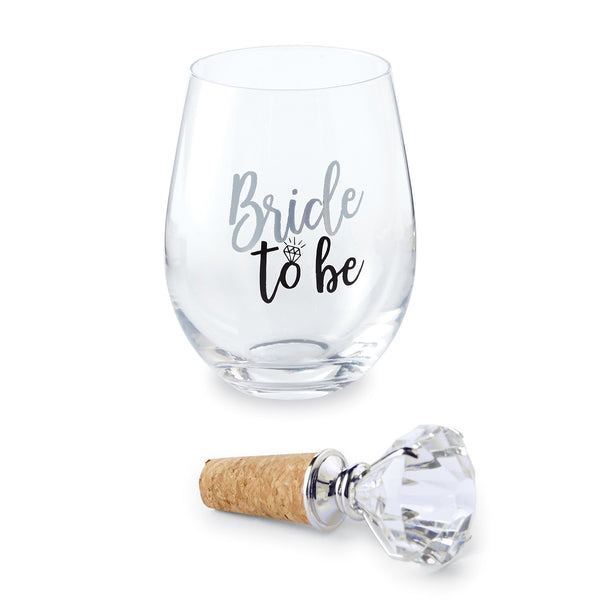 Mud Pie Engagement Bride To Be Stemless Wine Glass Set 16 oz