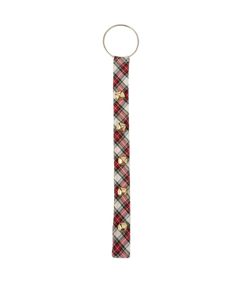 Mud Pie White Tartan Doggie Door Bell