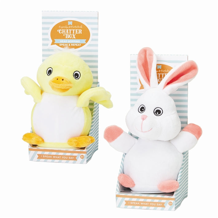 Two's Company Speak-Repeat-Moving Plush Bunny and Duck set of 2