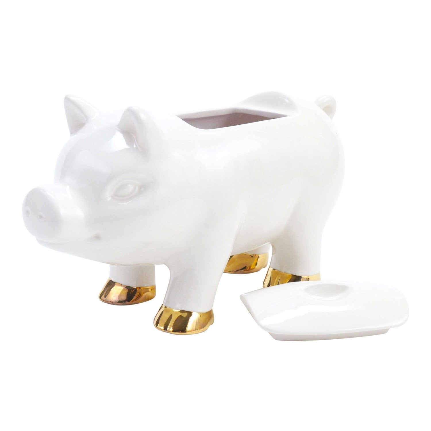 Hallmark Home Pig Cookie Jar with Lid, White and Gold – Setauket Gifts