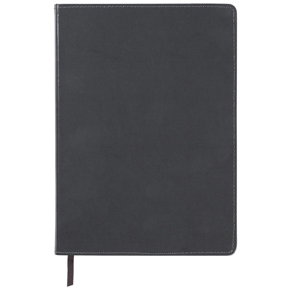 C.R. Gibson Large Charcoal Gray Leather Journal Notebook, 7.5'' W x 10.25'' L, 192 Pages