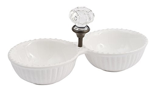 Mud Pie Door Knob Double Dip Dish, White