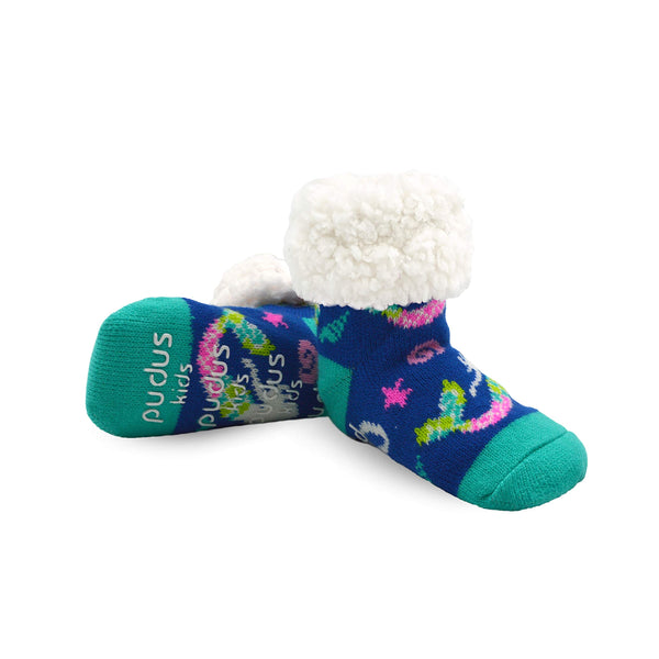 Pudus Cozy Kids & Toddler Slipper Socks with Non-Slip Grippers & Warm Fleece Lining Classic Mermaid Blue Kids