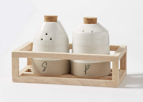 MUD PIE STONEWARE SALT AND PEPPER SHAKER CADDY