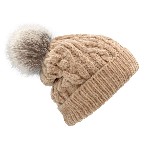 Pudus Women's Winter Beanie Hat with Faux Fur Pom Pom - Cable Knitted Chenille and Fleece Lined Slouchy Beanie Chenille Sand