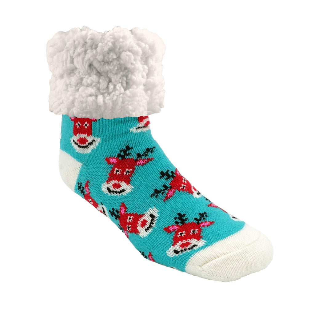 Pudus Cozy Holiday Winter Slipper Socks Women & Men w Non-Slip Grippers Faux Fur Sherpa Rudolf Aqua